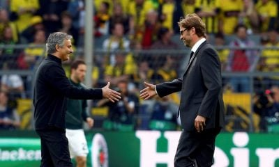 Borussia Dortmund coach Juergen Klopp and Real Madrid coach Jose Mourinho (L) stand on the pitch before the Champions League semi-final first leg soccer matchat BVB stadium in Dortmund April 24, 2013.  (GERMANY)       REUTERS/Ina Fassbender (GERMANY  - Tags: SPORT SOCCER)
